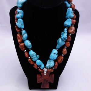 Cross Necklace with Dyed Blue & Red Howlite